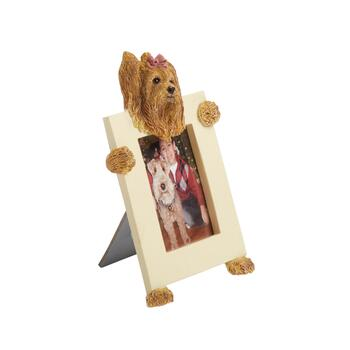 "2.5""x3.5"" Brown Dog with Pink Bow Frame"