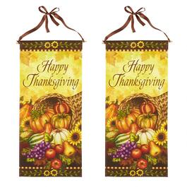 "30"" ""Happy Thanksgiving"" Canvas Hangers,  Set of 2"