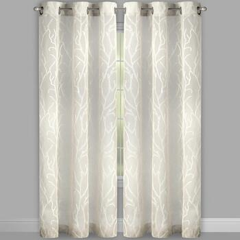 "84"" Branch Embroidered Grommet Window Curtains, Set of 2 view 2"
