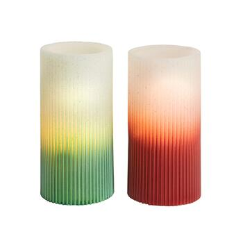 Red/Green Glitter LED Pillar Candles, Set of 2
