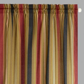 "Traditions by Waverly® 84"" Crimson Stripes Rod Pocket Window Curtains, Set of 2"