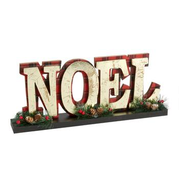 "16"" ""Noel"" Plaid Table Sitter"