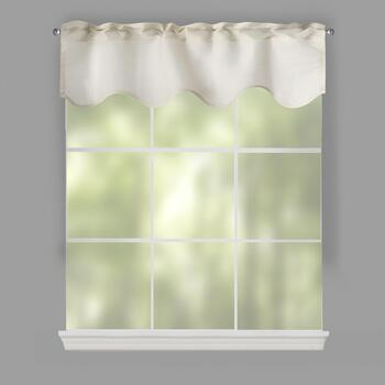 Fleck Tan Scalloped Window Valances, Set of 2