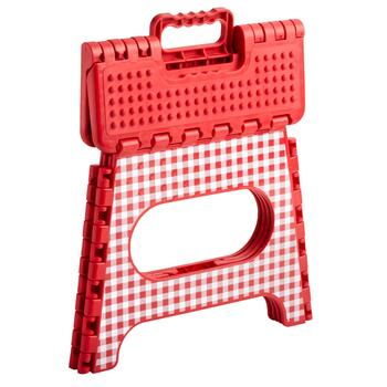 Red Checkered Folding Step Stool view 2