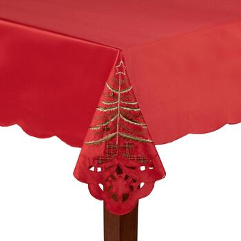Red Christmas Tree Cutwork Tablecloth