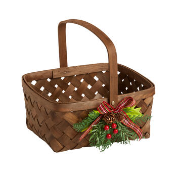 Holly and Berries Woven Basket view 1