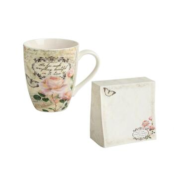 12-Oz. Rose Mugs and Notepad Gift Set, 2-Piece