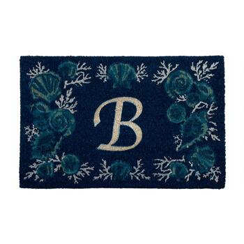 "18""x28"" Seashells Monogram Coir Door Mat"
