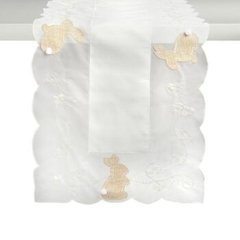 Ivory/Beige Bunny Cutwork Table Runner
