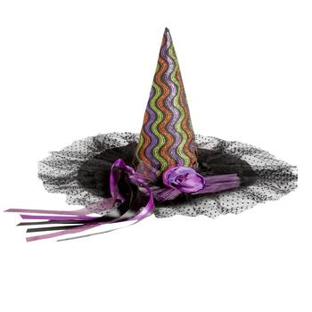 Colorful Wave Embellished Witch's Hat