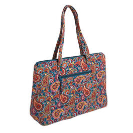 "18""x14"" Blue/Red Paisley Quilted Insulated Tote Bag view 1"