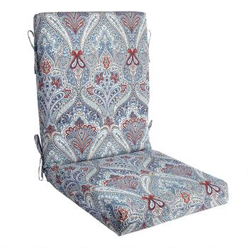 Paisley Blue Indoor/Outdoor Hinged Chair Pad