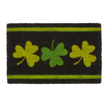 Green/Yellow Three Shamrocks Coir Door Mat view 1
