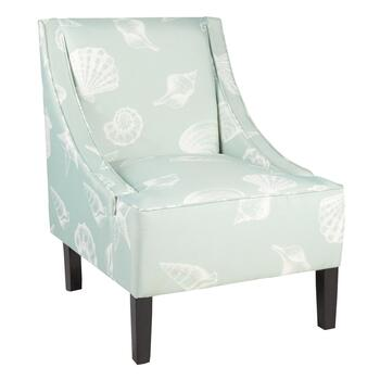 Seashell Upholstery Sleigh Side Chair
