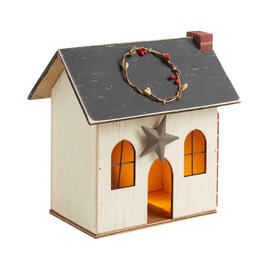 "8.25"" Cream Lighted Wood Holiday Chimney House view 1"
