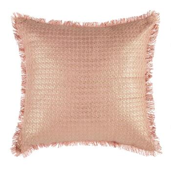 Metallic Textured Square Throw Pillow with Fringe