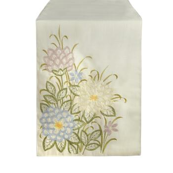 Multicolor Spring Flowers Embroidered Table Runner
