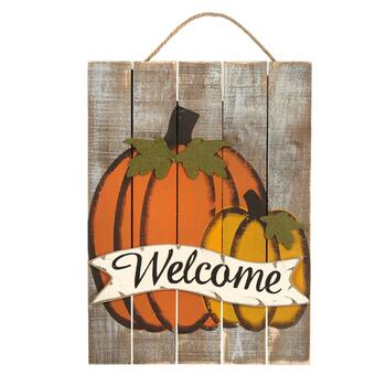 "24"" ""Welcome"" Pumpkins Slatted Wood Hanging Plaque"