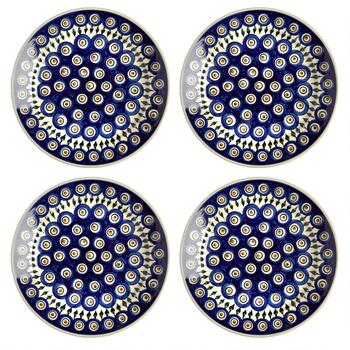 Polish Pottery Peacock Feathers Handmade Dinner Plates, Set of 4