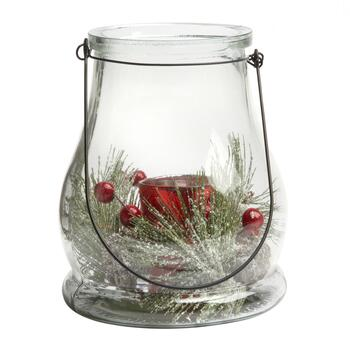 "7"" Snowy Berries Votive Candle Holder"