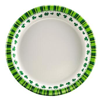 Shamrock Border Salad Paper Plates, 48-Count