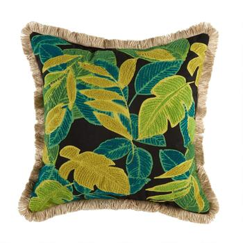"18.5"" Palm Leaves Fringed Square Indoor/Outdoor Throw Pillow"