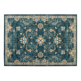 Teal Traditional Floral Printed Loop Area Rug view 1