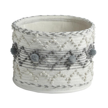 The Grainhouse™ Gray/White Pom-Pom Round Cotton Basket with Handles view 1