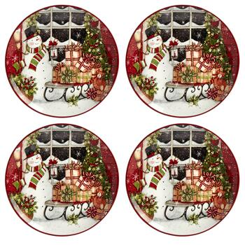 Snowman's Sleigh Ceramic Salad Plates, Set of 4