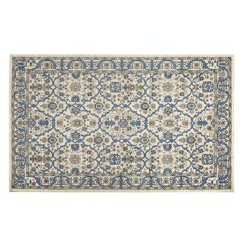 6'x9' Iron/Blue Flowers Area Rug