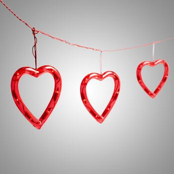 "52"" Red Hearts String Lights"