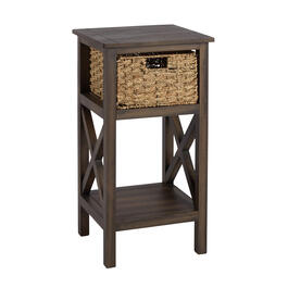 Brown Manor 1-Basket Plank Top Accent Table view 1