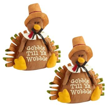"""Gobble Till Ya Wobble"" Turkey Sitters, Set of 2"