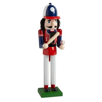 "15"" Baseball Player with Bat Nutcracker"