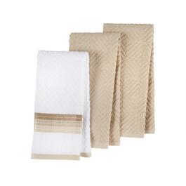 Beige Solid Diamond Pattern Cotton Kitchen Towels, Set of 3