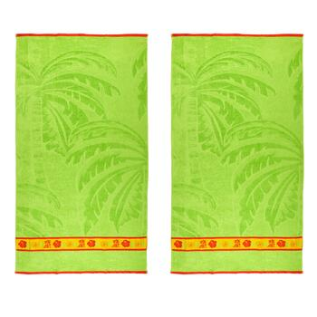 Palm Trees Oversized Jacquard Beach Towels, Set of 2