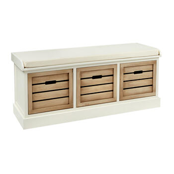 Alden White 3-Bin Shutter Storage Bench view 1