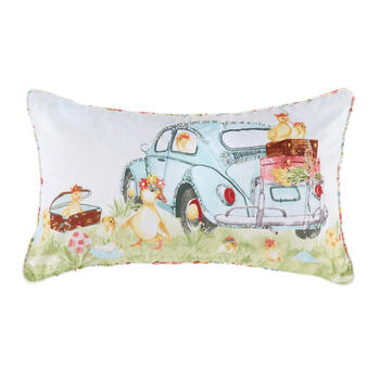 Chicks in Car Oblong Throw Pillow view 1