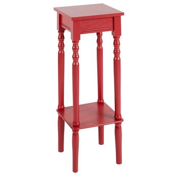 Red Square Accent Table with Shelf