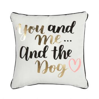 """You And Me And The Dog"" Square Throw Pillow"