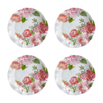 Pink Peony Scalloped Melamine Salad Plates, Set of 4 view 1