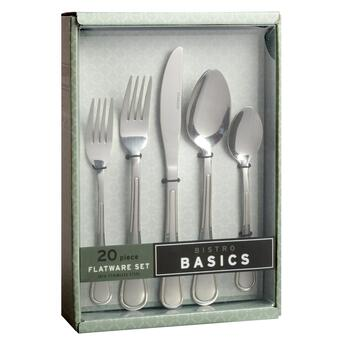 Bistro Basics Club Frost Flatware Set, 20-Piece view 2