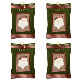 Plaid-Trimmed Santa Gift Sacks, Set of 4