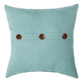 Solid Blue Woven Indoor/Outdoor Square Pillow with Buttons