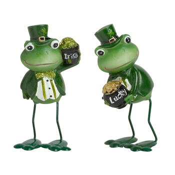 "4.5"" Leprechaun Frog Figures, Set of 2 view 1"