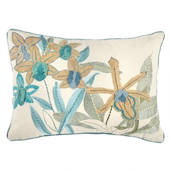 Aqua Floral Embroidered Oblong Throw Pillow