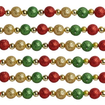 12' Red/Green/Gold Glittered Bead Garlands, Set of 2