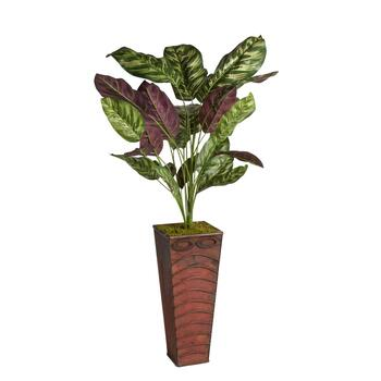 3' Artificial Purple Broadleaf Plant in Embossed Base