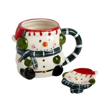 Buddy Scarf Snowman Mug and Spoon Plate Set, 2-Piece