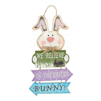 "22.25"" ""Believe in the Easter Bunny"" Directional Wood Sign view 1"